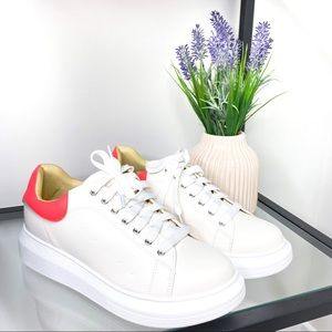 Chase + Chloe Platform Lace Up White Sneakers 10